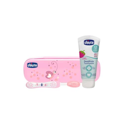 6961813-Chicco-Estojo-Higiene-Oral-Rosa-12m+