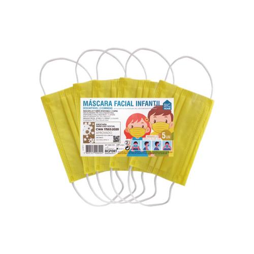 1010371-1-Máscara-de-Proteção-Individual-Infantil-Descartável-Amarela—5-unid