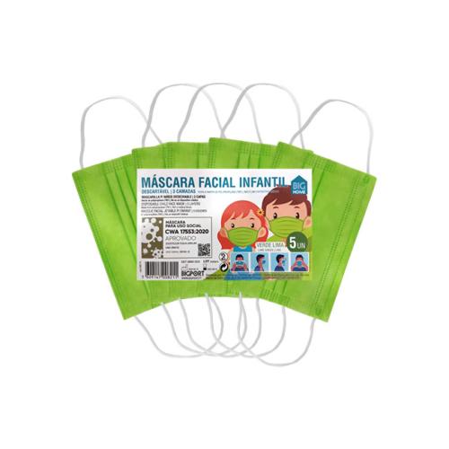 1010371-4-Máscara-de-Proteção-Individual-Infantil-Descartável-Verde-Lima_5-unidades
